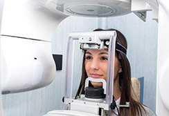 Woman receiving cone beam scan