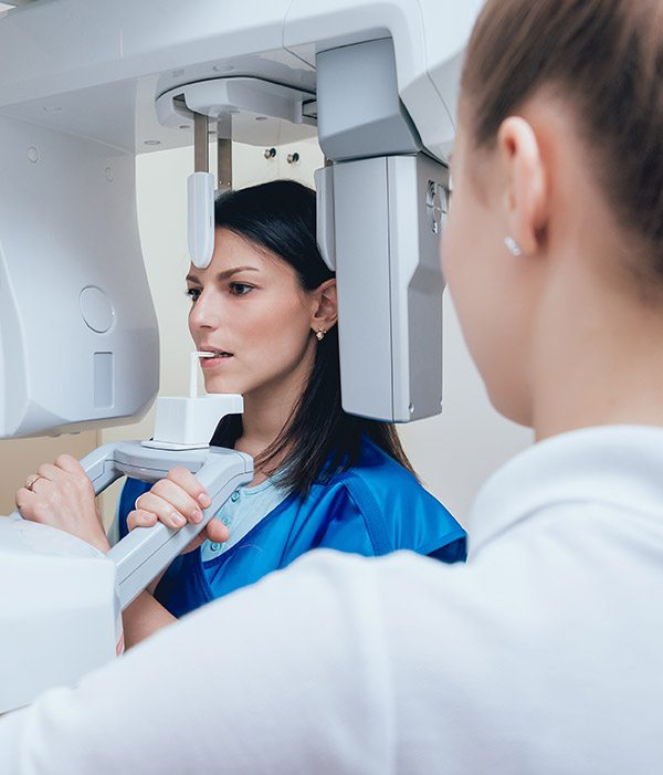 Woman receiving 3D cone beam scan